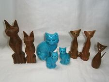 8 COLLECTABLE RETRO KITCH CAT FIGURINES - WOOD / CHINA / PLASTIC