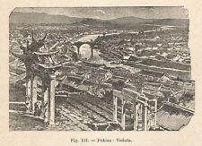 B1131 Pechino - Veduta - Incisione antica del 1929 - Engraving