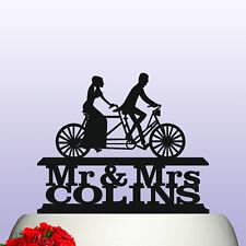 Personalizado De Acrílico Sr. & sra. Bicicleta tándem Novia Novio Wedding Cake Topper