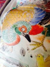 Antique Chinese Oriental Porcelain Lamp Phoenix Bird & Chick Detail Orange Blue