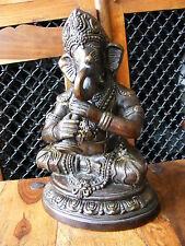 VINTAGE ANTICO BRONZO OTTONE STATUA indù indiano GANESH Dio Elefante Ornamento