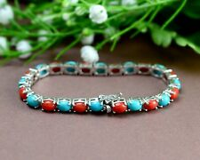 7x5MM Natural Coral & Turquoise Oval Gemstone 925 Sterling Silver Chain Bracelet
