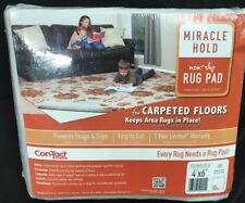 "Miracle Hold Non-Slip 4'x6' Rug Pad For Carpeted Floors 44""x70"" Con-Tact Brand"