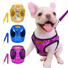 Bling Sequins Cat Dog Harness and Leash Soft Mesh Walking Vest for Small Pet Dog