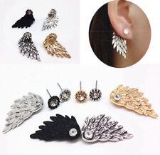Ear Jacket Cuff Earrings Angel Wing Feather CZ Cubic Zirconia Earrings for Women