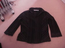 Ladies NEXT black & pink stripe stretchy blouse shirt top size 14 FREE POSTAGE