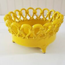 "Vintage Lattice Work Terracotta Bowl Made In Italy Yellow 9"" Crown"