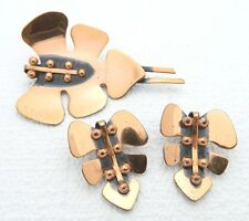 "VTG Matisse RENOIR Signed ""JUNGLE"" Design Copper Brooch & Earring Set"