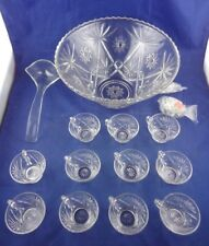 Vtg Glass Punch Bowl Set  26Pc Early American Prescut Anchor Hocking, Orig. Box