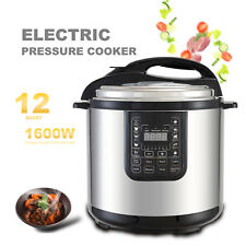1600W 12QT Electric Digital Multifunction Pressure Cooker Stainless Steel
