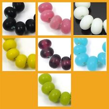 Lampwork Handmade Plain Color Spacer Rondelle Beads (6)  - Choose Color