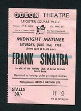 1962 Frank Sinatra Concert Ticket Stub Leicester Uk England