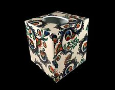 Handmade Decoupage Wood Tissue Box Cover Decorative Paper Geometrics and Flowers