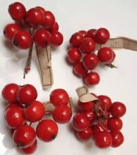 New listing Vintage 40s Hats Millinery Four Bunches Of Cherries Flowers Fruit West Germany.