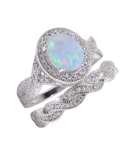 Large Halo Oval Moon Opal Infinity CZ Celtic Silver Wedding Engagement Ring Set