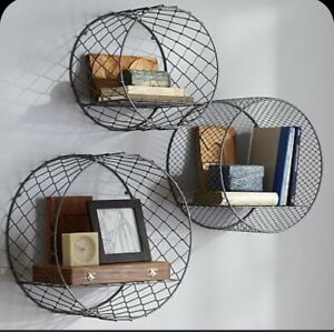 Pottery Barn Circle Wire Industrial Design Shelves Set Discontinued NEW