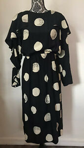 Vtg Pierre Cardin Boutique Silk Dress in Black and Ivory Circular Print Sz 12