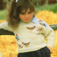 "Swiss Darned Chicken Jumper 22"" - 26"" DK Baby Childrens Knitting Pattern"