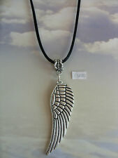 """A Large Angel Wing  Tibetan Silver Charm Pendant, Long 30"""" Black Chain Necklace"""