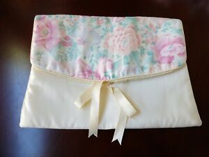 VTG 1950s Travel Lingerie Storage Bag Pouch Satin Floral pattern ribbon tie
