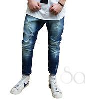 Pantalone Uomo Jeans Strappato Cinque Tasche Rotture Denim Slim Cavallo Basso