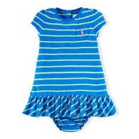 Ralph Lauren Polo Kids Baby Childrenswear Baby Girls' Striped Gauzy Dress Blue