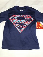 NWT Boys Extra Small XS 4-5 Superman Logo T Shirt Fitted Navy Red & Blue DC Cool