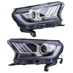 1 Pair LED Headlights For Ford Ranger PX2 PX3  Everest 2015-ON H11 Mustang style