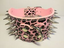 """4 Row Spiked Studded Dog Collar PU Leather Pink Leopard Size Small 17""""-20"""""""