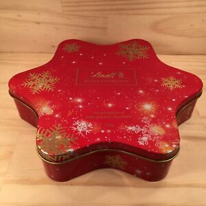 """LINDT CHOCOLATE """"Ruby Red"""" Star Shaped Christmas Tin Festive Lolly Biscuit Box"""