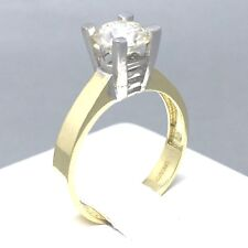 "9CT YELLOW GOLD *MOISSANITE* SOLITAIRE ENGAGEMENT LADIES RING SIZE ""P""  1653"