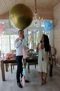 """Giant 36"""" Gender Reveal Balloon in GOLD!!! with tassels & confetti"""