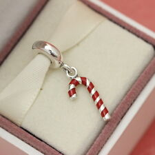 * Authentic Pandora Christmas Dangle Candy Cane Bead 791193EN09 w Gift Pouch