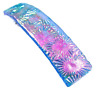 """Dichroic Glass Barrette Pink Magenta Blue Flowers Patterned 3.5"""" 90mm Hair Clip"""