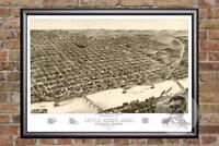 Vintage Little Rock, AR Map 1887 - Historic Arkansas Art - Victorian Industrial