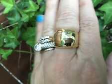 14 KT Yellow Gold Polished Hammered Domed Wide Cigar Band Ring NEW Shiny