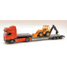 MAN F2000 LOWBOY WITH BACKHOE LOADER 1:43 New Ray Camion Die Cast Modellino