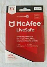 Mcafee LiveSafe 1 Year Unlimited Devices *DOWNLOAD** Windows 10, 8 & Mac OS 10+