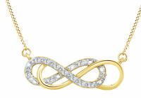1/10 Ct Yellow  Natural Diamond 14K Gold Over Double Infinity pendant necklace