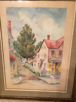 "Large K Parry ""Pink House"" Watercolor Painting - Signed And Framed"