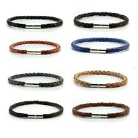 Mens Leather Bracelet-925 Sterling Silver Clasp-5mm Genuine Leather Wristband