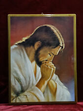 Cuadro de Pared Laminado Madera Hecho a Mano Santo Jesucristo Oración 43