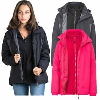 Trespass Rewarding Womens 3 in 1 Jacket Waterproof Parka Coat in Pink & Black