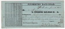 1850 FITCHBURG RAILROAD Receipt CHARLESTOWN Massachusetts TRAIN RR Railroad