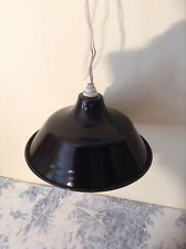 Vintage French Black Enamel Shade Industrial Light (2411)