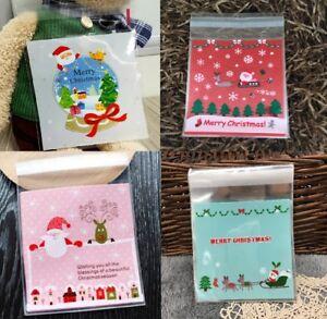 Christmas Cookie Bags Plastic Seal Santa Sweet Gift Bag Biscuit Bag Cellophane