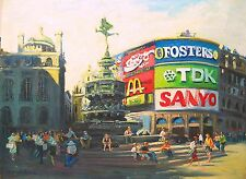 """Original Painting of Piccadilly Circus in London by American Nino Pippa 18"""" X24"""""""