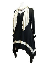C72 Lagenlook  Black/ Cream Tunic Scarf Top Long Sides Scoop Neck Made to Order