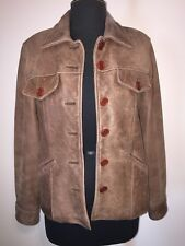 Vintage WEST FOUR NYC M Medium Brown Button Front Distressed Leather Jacket