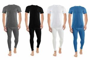 Mens Thermal Long John Top Bottom Trouser T-Shirt Set Full Half Sleeve Underwear